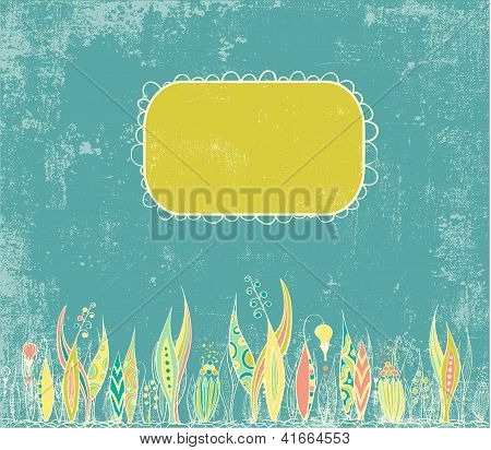 Bright  invitation with stylised floral ornament