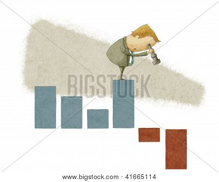 businessman using a telescope on a bar chart