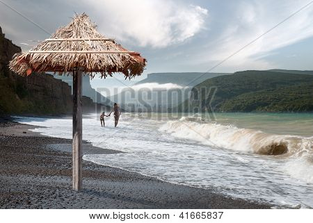 Walk Along The Beach Of The Black Sea