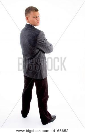 Back Pose Of Standing Handsome Businessman