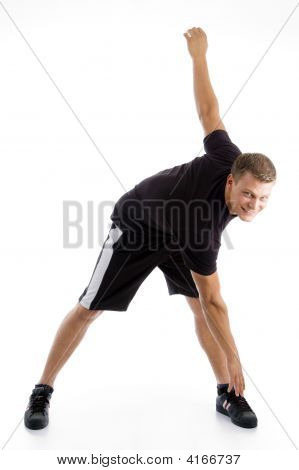 Handsome Muscular Guy Doing Exercise
