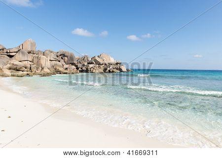 beach of the island of La Digue. Seychelles