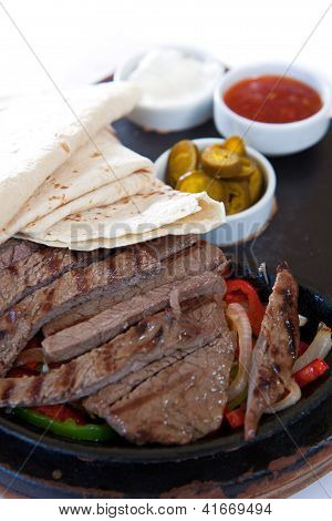Fajita with marinated steaks