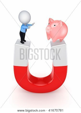 Small person and piggy bank on a horseshoe.