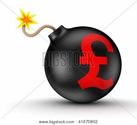 Pound sterling sign on a black bomb.