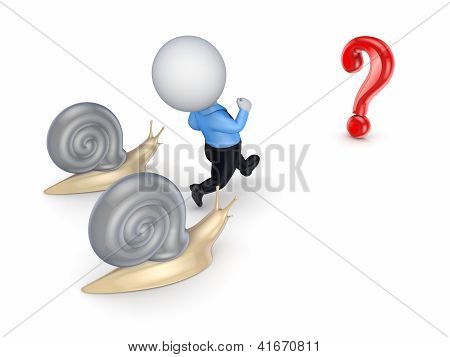 3d small person running to a query sign.