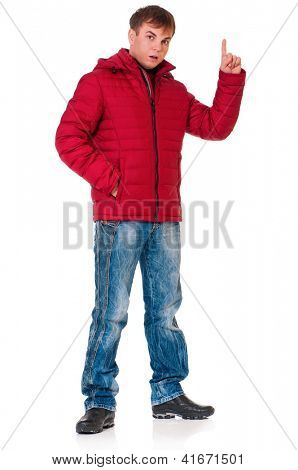 Full length portrait of a young man dressed with winter clothes isolated on white background