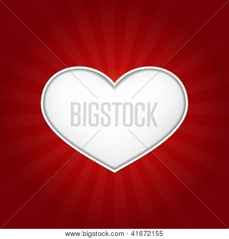 Romantic vector love heart with inner shadows on dark red background with a  slight texture. Great for Valentine's or any romantic themes. Space for your text.  Vector available.