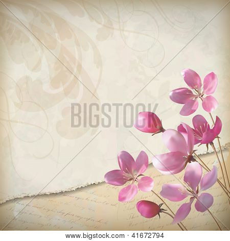 Realistic Floral Vector Spring Background