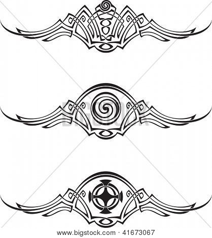 Three patterns using Celtic ornamental elements. Raster image. Find editable version in my portfolio.