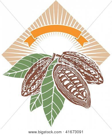 Label with cocoa beans with green leaves. Raster image. Find editable version in my portfolio.