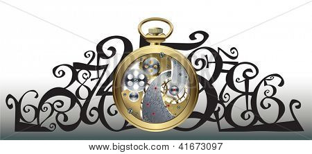 Head pattern with a golden watch inside parts and figures. Raster image. Find editable version in my portfolio.