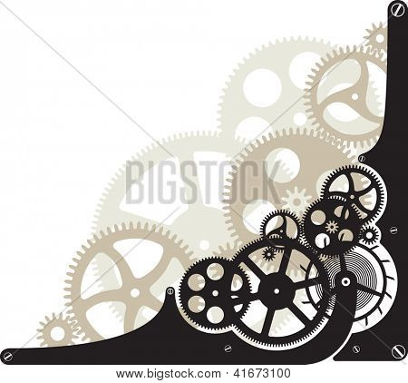 Corner pattern with the cog wheels. Raster image. Find editable version in my portfolio.