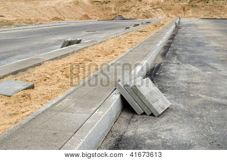 Pavement Tiles Sidewalk. Highway Road Construction