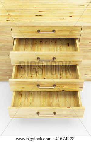 wooden cupboard with opened empty drawers