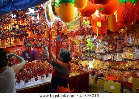 Shopping For Chinese New Year Decoration.