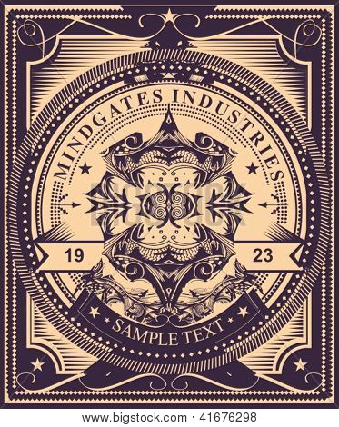 Luxurious and detailed  vintage label style  poster design. Highly detailed original vector artwork,  just add your own text to customize it for your own needs. Fully editable vector illustration.