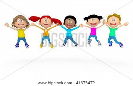 3D kids jumping - isolated over a white background