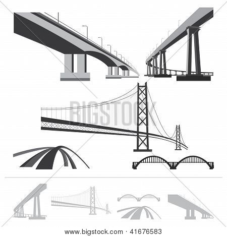 Set Of Bridges, Vector Silhouette Collection Isolated On White Background