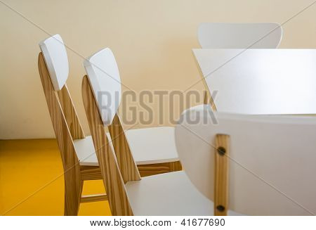Wood Chairs In The Library Room