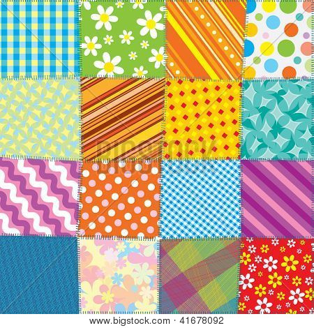 Seamless Quilt Texture. Motley Colorful Pattern for your Design