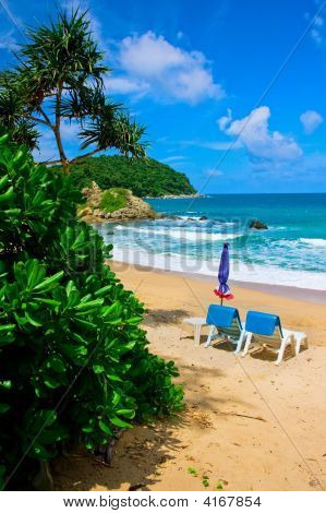Beach Chairs On Beautiful Tropical Phuket Island