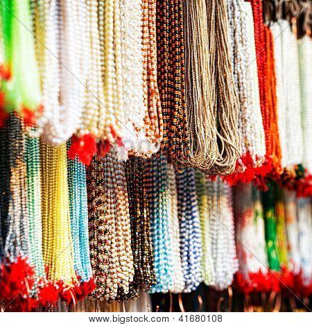 Indian Beads In Local Market In Pushkar.