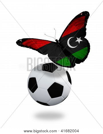 Concept - Butterfly With Libyan Flag Flying Near The Ball, Like Football Team Playing