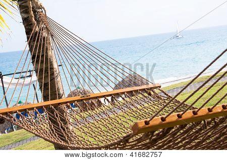 Hammock by tropical ocean