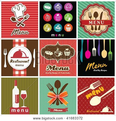 illustration of vintage retro label with restaurant menu design collection