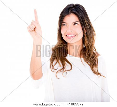 Woman touching a screen with her finger - isolated over white