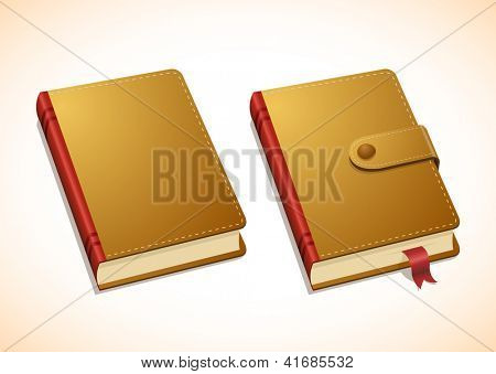 Vector brown notebook in two versions