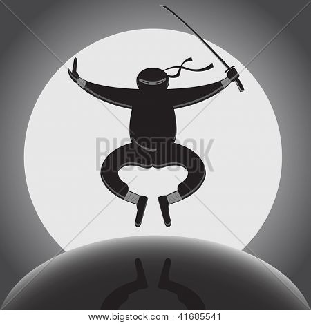 Vector ninja with katana jumping over full moon background