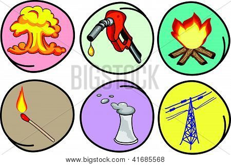Six Forms Of Energy On Round Background