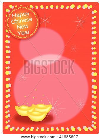 Three Gold Ingot On Chinese New Year Background