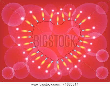 A Heart Lights Frame On Red Background