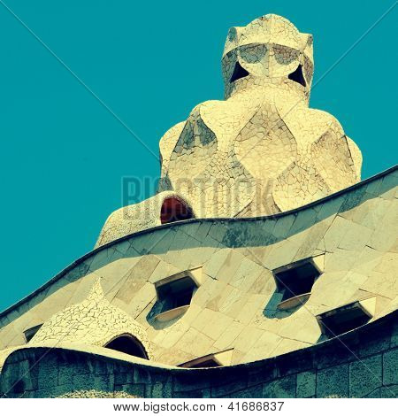 BARCELONA, SPAIN - MAY 23: Detail of Casa Mila, or La Pedrera, on May 23, 2010 in Barcelona, Spain. This famous building was designed by Antoni Gaudi.