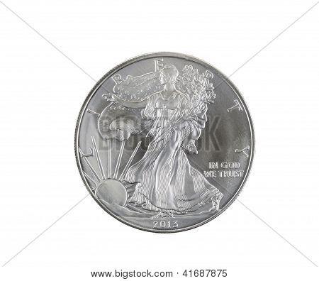 Fine Silver Dollar On White