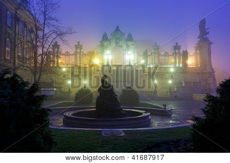 Buda castle at foggy morning, Budapest