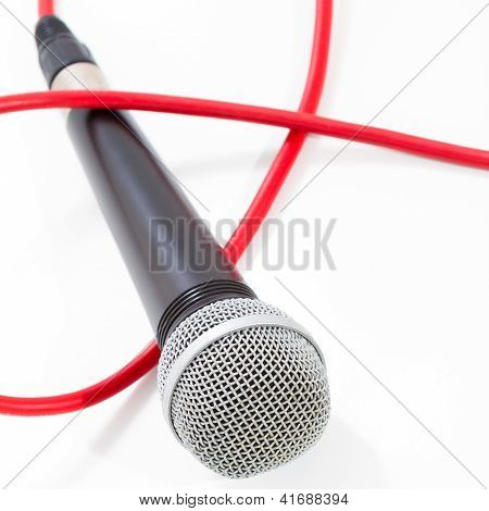 Microphone with red cable