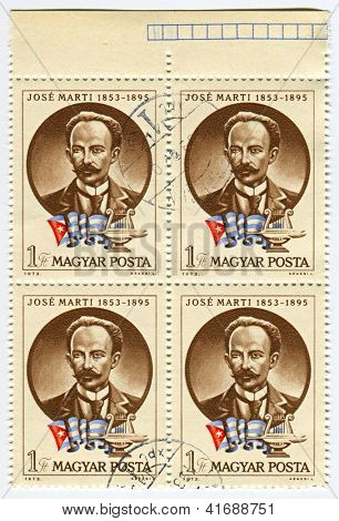 HUNGARY - CIRCA 1973: Postage stamps dedicated to Jose Marti�­ , Cuban poet,  essayist, journalist, revolutionary philosopher, translator, professor, publisher, and a political theorist, circa 1973.