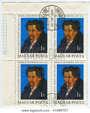 HUNGARY - CIRCA 1979: Postage stamps printed in Hungary dedicated to Zsigmond M�³ricz (1879-1942),  Hungarian novelis, circa 1979.