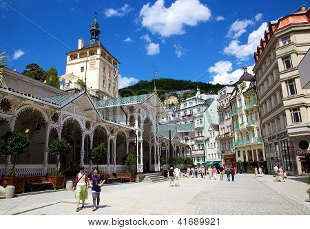Karlovy Vary, Cszech Republic - July 19: Tourists At Hot Springs Colonnade In Karlovy Vary.