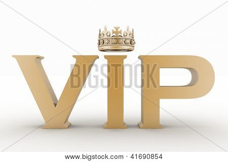 VIP abbreviation with a crown. 3D text isolated