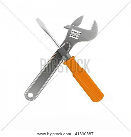 3d wrench and screwdriver. Isolated on white.