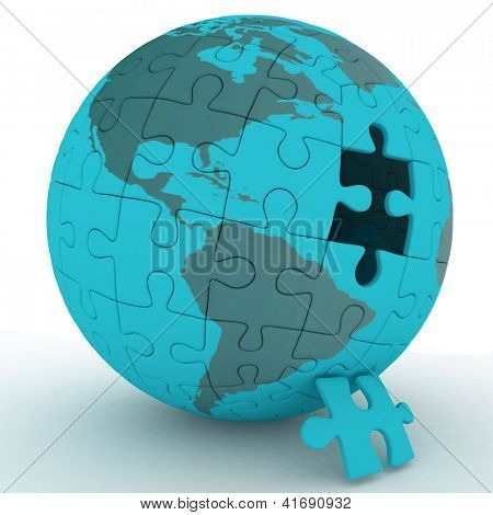 spherical jigsaw. 3d rendering on white