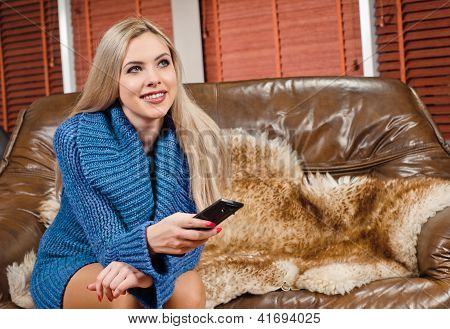 Young Woman On Sofa