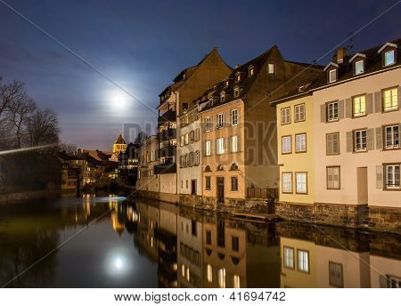 Moon Over Ill River In Petite France Area, Strasbourg - Alsace, France
