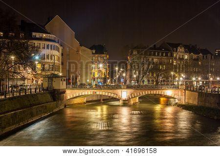 Pont National Over Ill River In Strasbourg - Alsace, France
