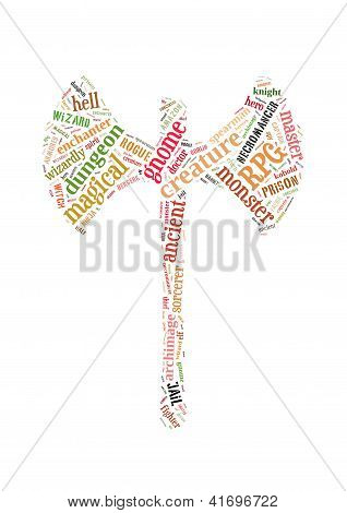 Rpg Games Word Cloud Axe Shape